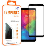 Full Coverage Tempered Glass Screen Protector for LG Q7 - Black Frame